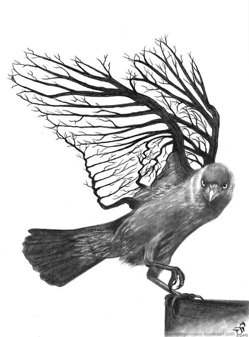 Unuque black-and-white raven with branched wings tattoo design