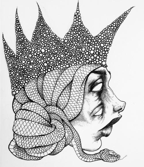 Unusual-face medusa gorgona profile in high crown tattoo design