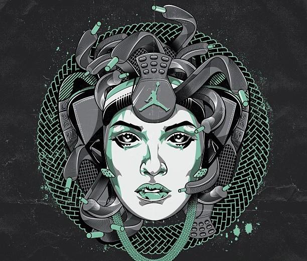 Unusual biomechanical-style medusa gorgona head tattoo design