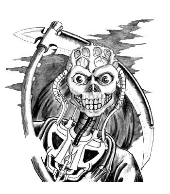 Unusual black-and-grey biomechanical death with a scythe tattoo design