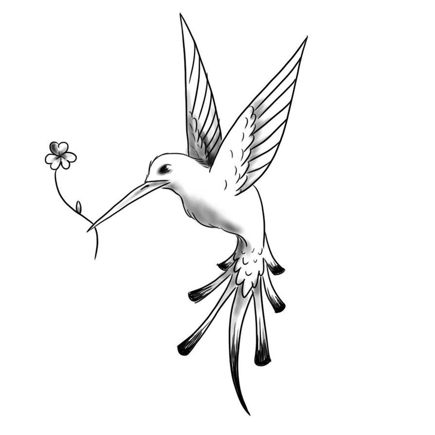 Unusual Black And White Hummingbird Keeping A Flower In Beak Tattoo