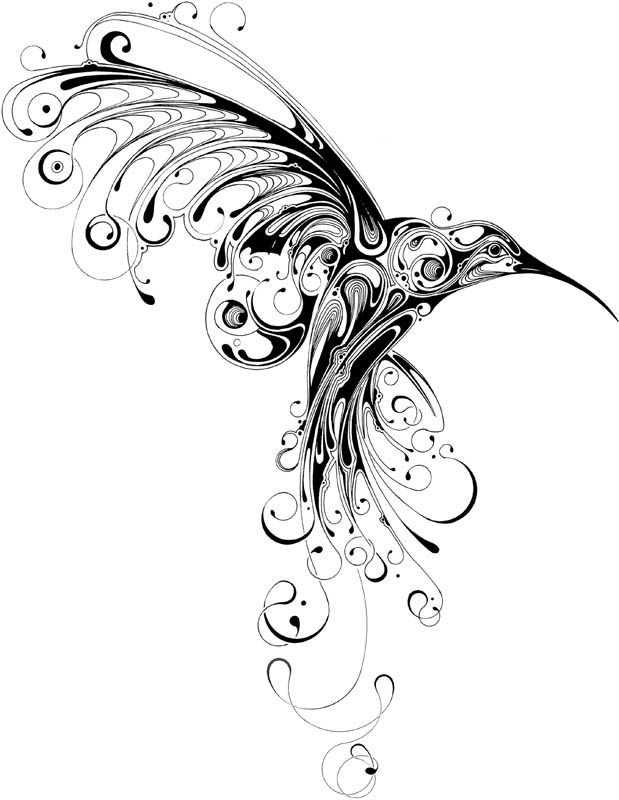 unusual black and white hummingbird with curly tail and wings tattoo design. Black Bedroom Furniture Sets. Home Design Ideas