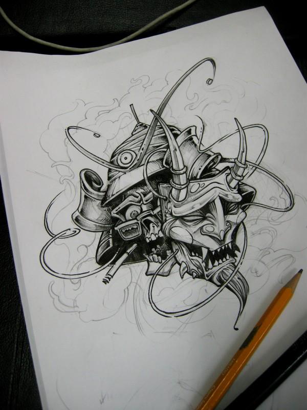 Unusual black-and-white samurai skull in demon mask tattoo design