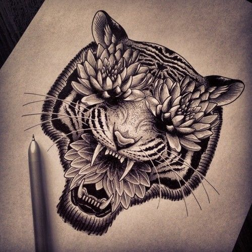 Unusual Black And White Tiger With Lotus Eyes And Mouth Tattoo