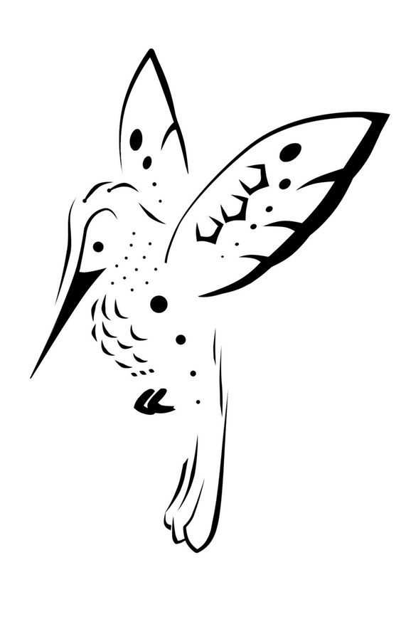 Unusual black-line hummingbird tattoo design