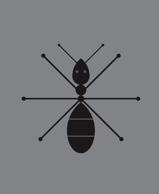 Unusual black geometric style ant tattoo design