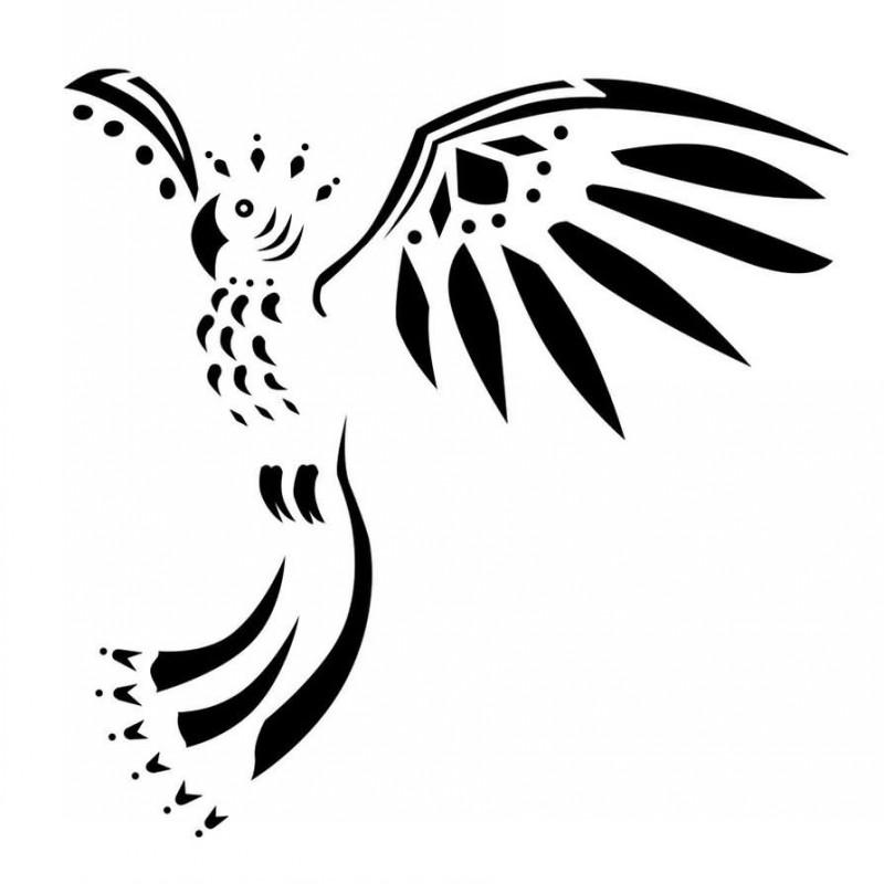 Unusual black tribal flying parrot tattoo design