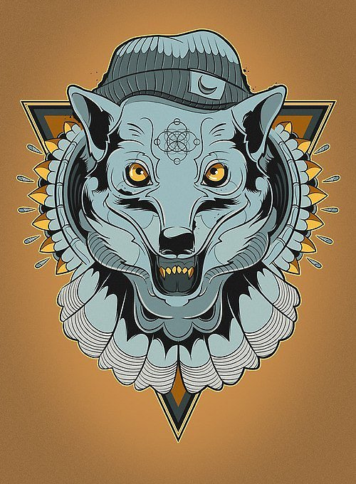 Unusual blue-color wolf hipster tattoo design