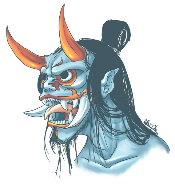 Unusual blue asian demon with orange horns and long tongue tattoo design by Weremagnus