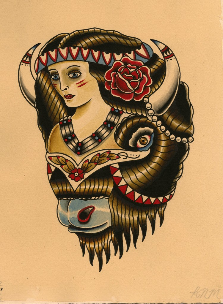 Unusual colored old school style bull and gorl tattoo design
