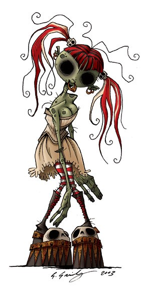Unusual colored zombie girl with red hair and striped stockings tattoo design