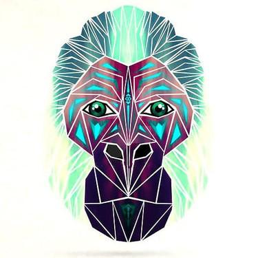 Unusual colorful geometric gorilla muzzle tattoo design