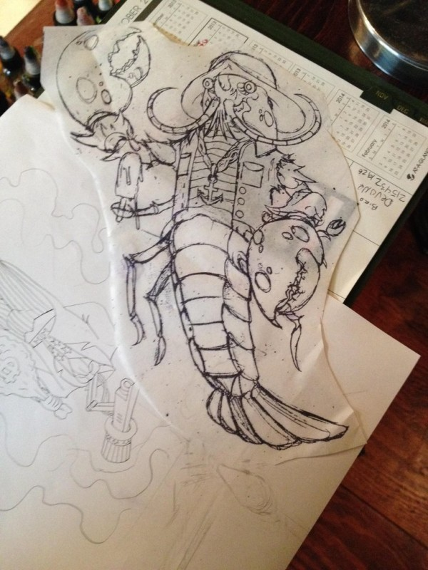 Unusual colorless mr lobster water animal in suit tattoo design