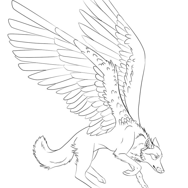 Unusual colorless wolf pegasus tattoo design by Trevu