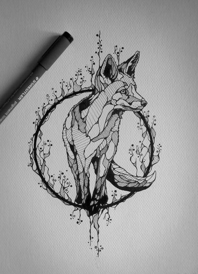 Unusual grey-ink fox standing in herbal circle tattoo design