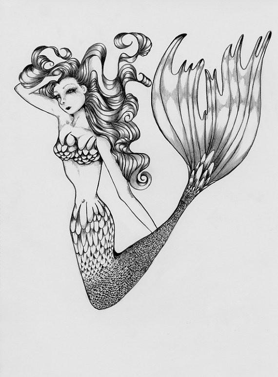 Unusual grey-ink jumping mermaid tattoo design
