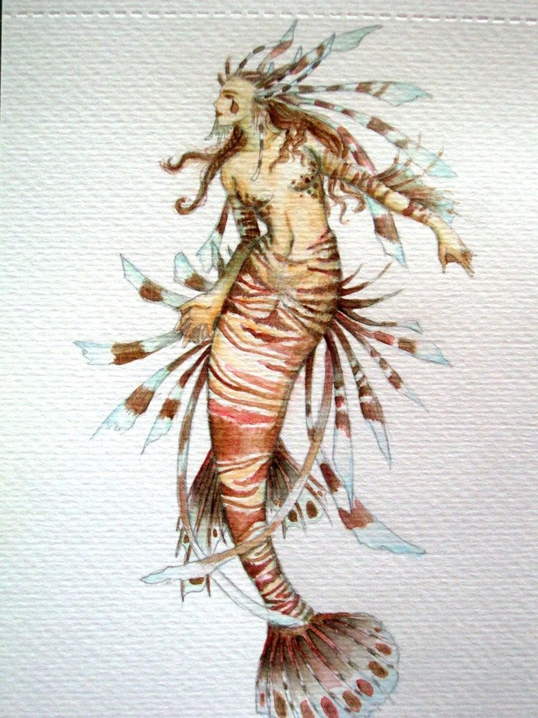 Unusual lion fish mermaid tattoo design