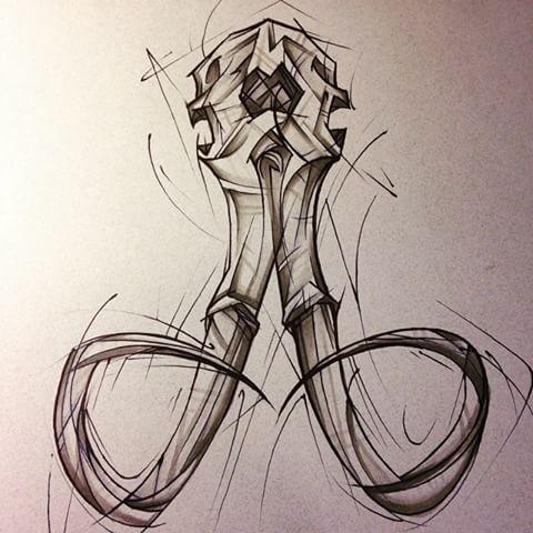 Unusual pencil-drawing mammoth skull tattoo design