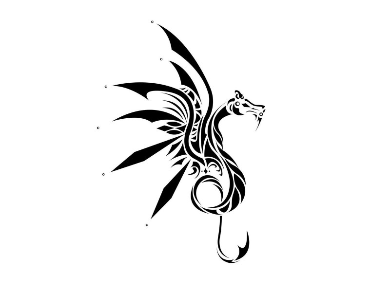Unusual tribal dragon in black color tattoo design
