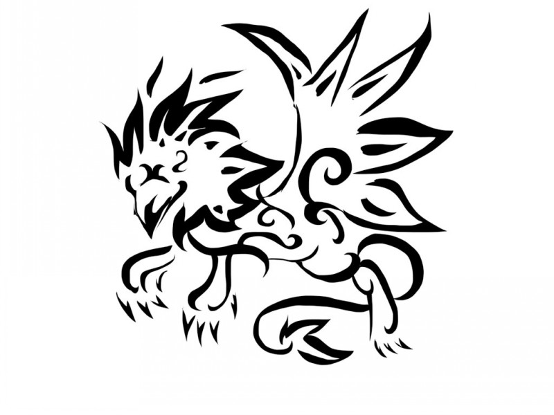 Unusual tribal griffin with a lot of decorative lines tattoo design