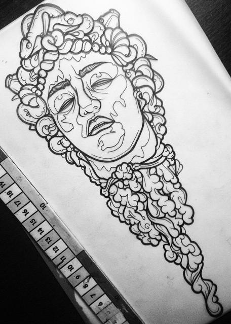 Unusual uncolored died medusa gorgona head tattoo design