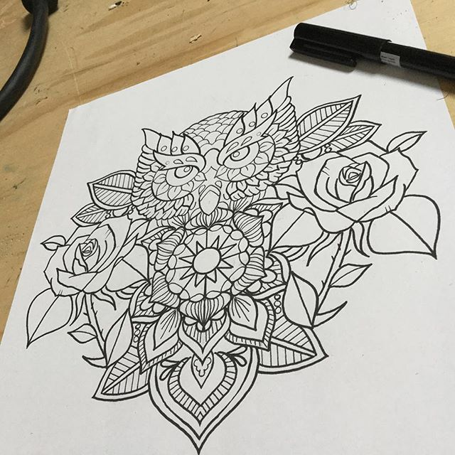 Unusual Uncolored Owl With Mandala And Roses Tattoo Design