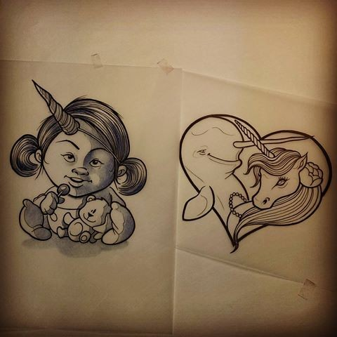 Unusual unicorn baby and heart frame with dolphin and unicorn friendship tattoo designs