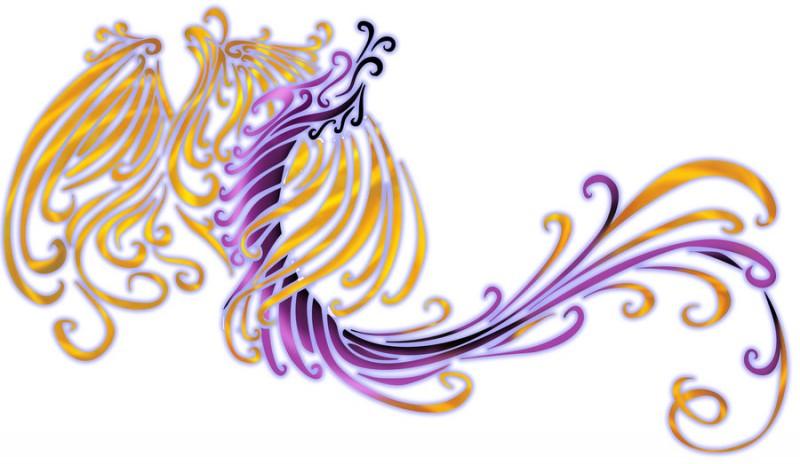 Unusual violet dragon and golden phoenix tattoo design by Devils Assassin