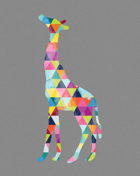 Unusual vivid color triangled giraffe silhouette tattoo design