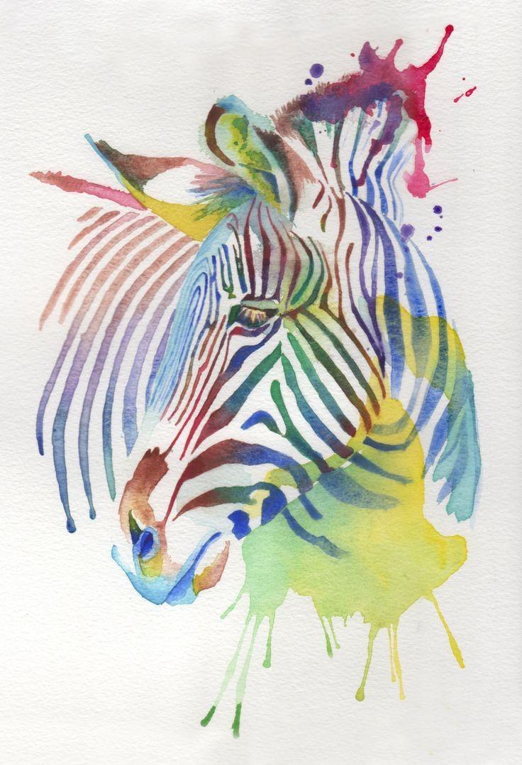 Upset brightly watercolor zebra turning its head tattoo design