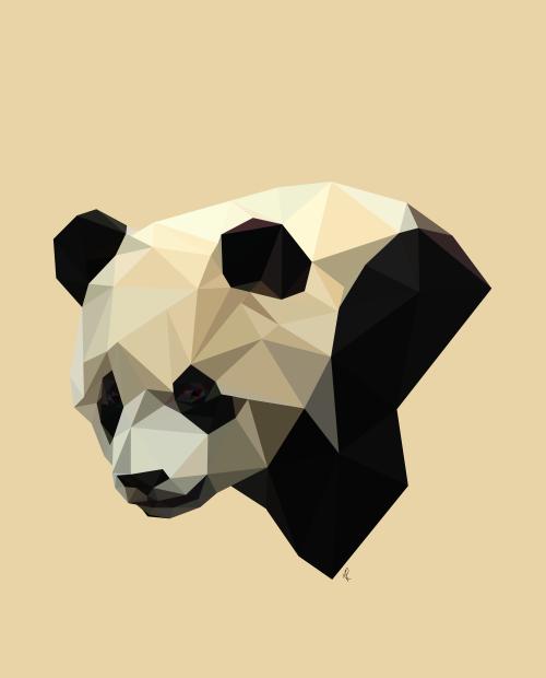 Upset geometric panda in profile tattoo design