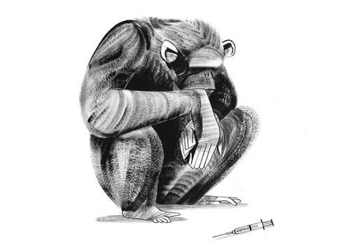 Upset grey-ink sitting chimpanzee tattoo design