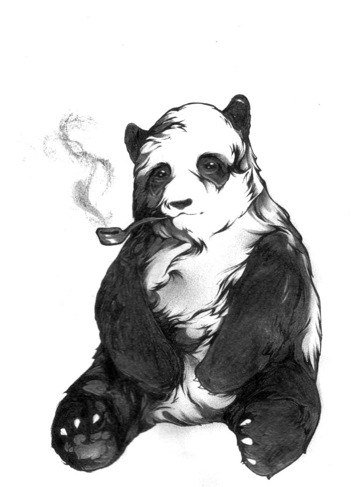 Upset panda bear smoking pipe tattoo design