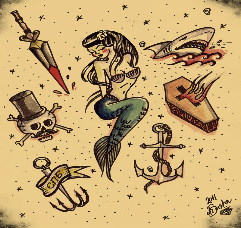 Upset sleeping mermaid among different elements in old school style tattoo design