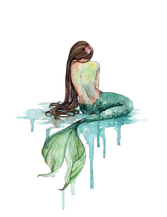 Upset watercolor mermaid from back with smusges tattoo design