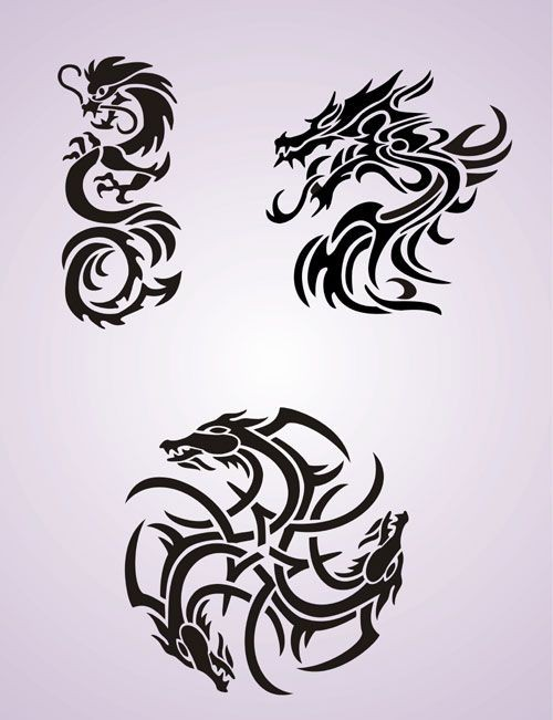 Usual classic black tribal style dragon tattoo designs