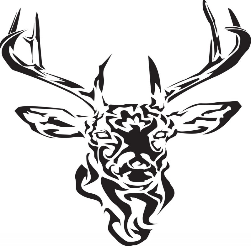 Usual tribal deer face tattoo design