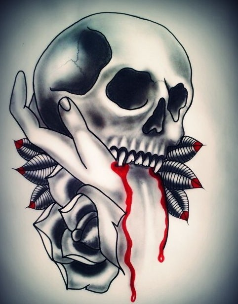 Vampire skull biting a girly hand with a rose bud tattoo design