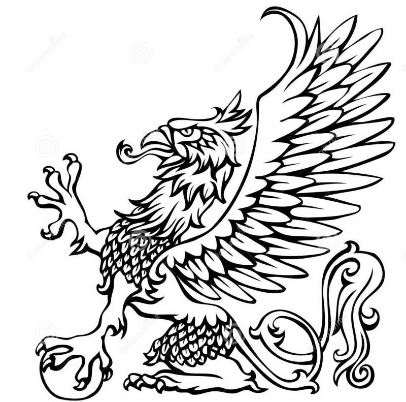 Very beautiful black outline sitting griffin tattoo design