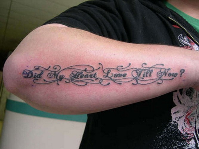 Very beautiful romantic quote tattoo on arm