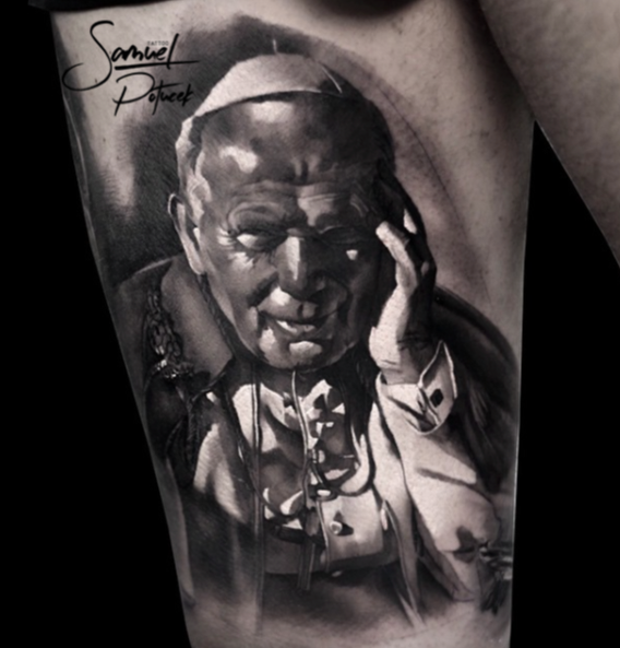 Very realistic looking Pope portrait tattoo