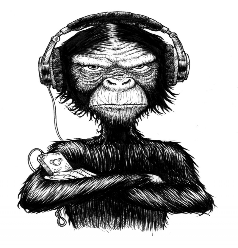 Vicious black-and-white chimpanzee in earphones with crossed hands tattoo design