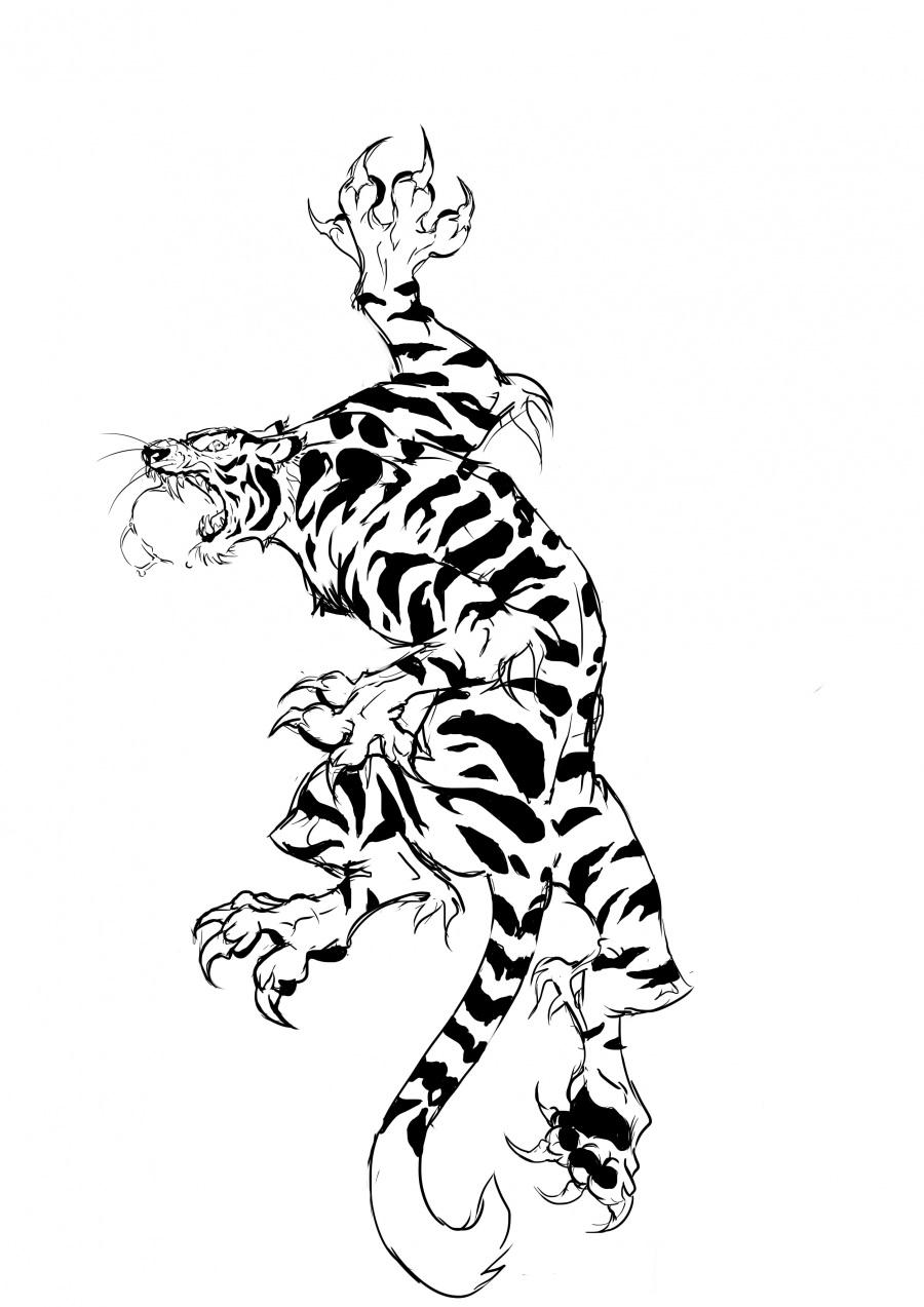 Vicious Black And White Climbing Tiger Tattoo Design By