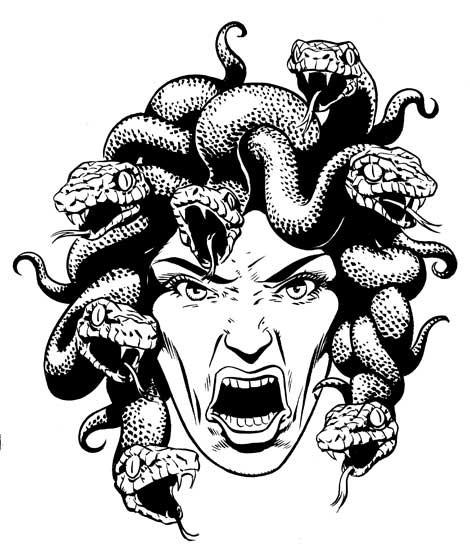 Vicious black-and-white screaming medusa gorgona tattoo design