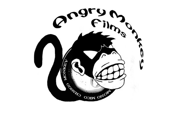 Vicious black monkey head and tail with lettering tattoo design