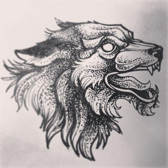 Vicious empty-eyed wolf head tattoo design