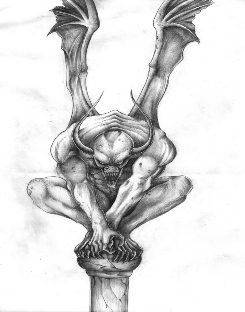 Vicious grey-ink gargoyle sitting on the column top tattoo design by Jalv