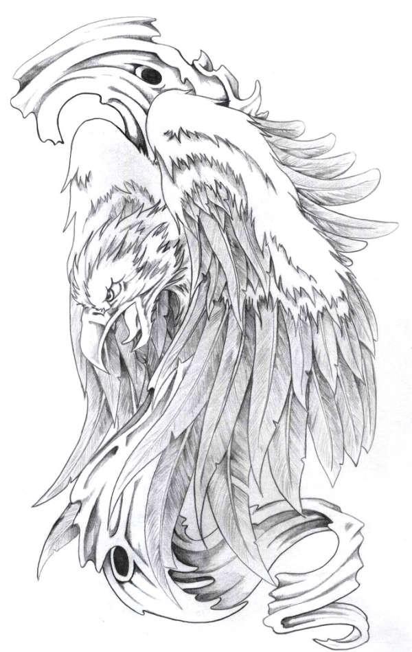 Vicious grey-ink screaming phoenix tattoo design
