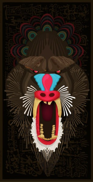 Vicious multicolor screaming baboon head tattoo design
