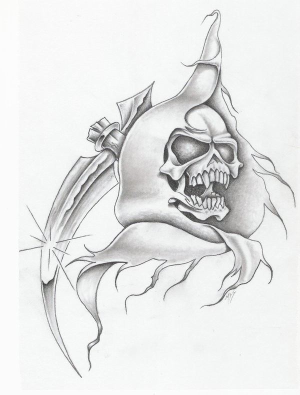 Vicious pencilwork death with a sharp scythe on shoulder tattoo design